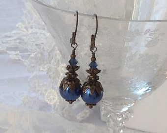 Deep Blue Pearl and Crystal Bridesmaid Earrings