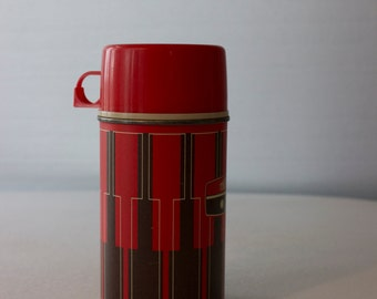 Red Geometric 1971 8oz Vintage Glass Interior Thermos
