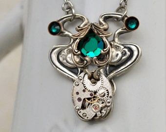 steampunk necklace, LILY POND, steampunk jewelry, antiqued silver vintage watch movement with emerald green rhinestones