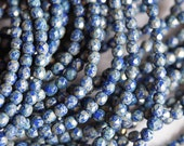 4mm Dark Blue Picasso Fire Polished Beads - Opaque Blue Picasso Fire Polished - Silver Picasso Finish - Czech Glass Beads - Bead Soup Beads
