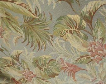 TROPICAL FLORAL blue green rose tan WOVEN upholstery fabric, 37-22-74-098