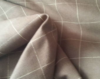 CHOCOLATE BROWN White Window Pane CHECK Woven Cotton Plaid Upholstery Fabric, 15-58-07-1012