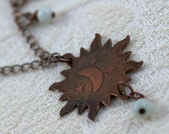 Celestial necklace, sun, moon, stars, copper, etched, patina, sunburst