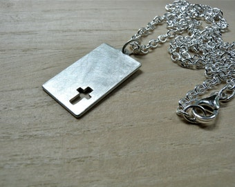 Mens cross necklace sterling silver jewelry silver cross pendant brush matte silver christian jewelry - first communion gift for him