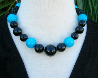 Simple Bold Choker, Real Turquoise & Black Vintage Lucite Beads, Matching Earrings, Extendable Clasp, Necklace Set by SandraDesigns