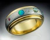 The 9 Planets Ring - 18k gold, Gibeon Meteorite and 9 Gemstones