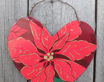 double sided Christmas ornament collage and poinsettia on metal heart