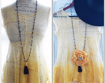 Ombre lace tunic top, Spell n gypsy shirt, Boho fall mustard top, Romantic clothing for autumn, Bohemian goldenrod top, True rebel clothing