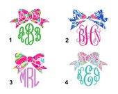 Monogram with Bow Lilly Pulitzer Inspired Vinyl Decal - Many Sizes Available - For your Laptop, Cell Phone, Mirrors, CamelBaks,  Car Windows