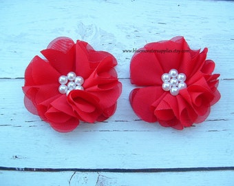 Dylan Collection ~ Set of 2 Red Chiffon Flowers with Pearl Center Accent