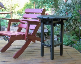 Wooden Side Table with Shelf for Outdoor Entertaining! - in 12 Stain Colors - Outdoor Tables & Furniture handcrafted by Laughing Creek
