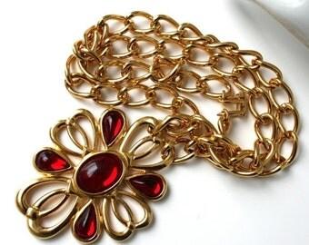 SALE Vintage NAPIER 1980s Bold Dramatic Red Necklace