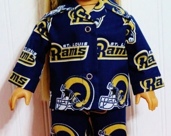 "FOOTBAL St. Louis Rams Pajamas Fits 18"" Dolls Made in America by mamastwinsees"