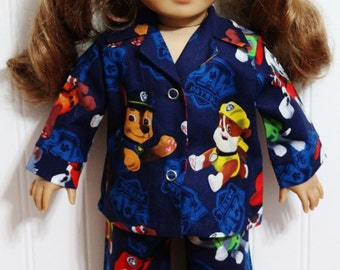 FOUR-LEGGED HEROES Cotton Pajamas fit 18inch American Girl Dolls - Proudly Made in America