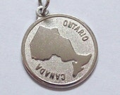 Ontario Canada Charm Sterling Silver Map