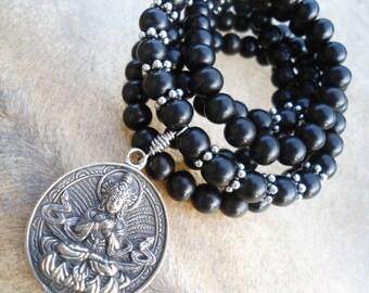 Simple Mens Mala Beads Buddhist Mala 108 Bead Mala Black Ebony Symbolic Jewelry Buddha Necklace Buddhist Prayer Beads Ebony Mala Mens Yoga