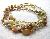 Sunset - Long Boho Semi-precious Colorful Necklace - Wrap Bracelet - Multi Strand Necklace - Bohemian Layering Necklace - Beaded Necklace