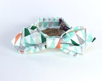 Boy's Bow Tie - Green Triangles - Tribal Print Bowtie - Diamond Point - teen size 11-16 years - In Stock