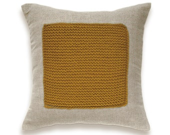 Color Block Linen Knit Pillow Cover In Mustard Yellow Flax Beige 16 inch Decorative Wool Cushion Garter Stitch