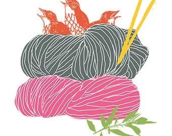 Carococo/Tricotés serrés ! / carte souhait 5x7 par Carol-Anne Pedneault