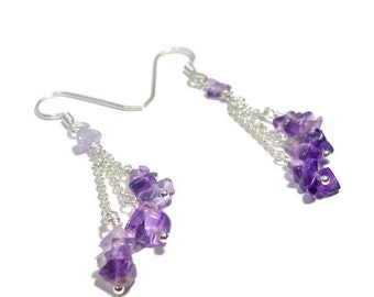20% OFF Amethyst Cascade Earrings- Argentium Sterling Silver As Seen On The Vampire Diaries