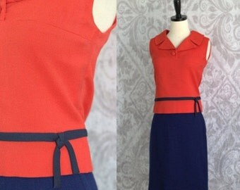 Vintage 1960s Dress Skirt Set 60s Summer Dress Top and Skirt Outfit Orange and Blue 1960s Wiggle Dress Womens Size Extra Small to Small