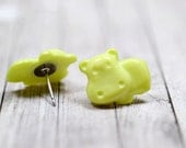 Lime Green Hippo Earrings, Pale Green Hippopotamus Earrings, Cute Jewelry, Adorable Animal Jewelry, Hungry Hippo Jewelry, Vegan Jewelry