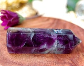 """Purple Fluorite Crystal Point with Rainbow Inclusions, Healing Stones and Crystals , Chakra, 86 Grams, 3"""", Meditation, Grounding, Protection"""