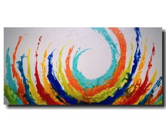 Original Large Abstract paintings - 24 X 48 -Art  JMJartstudio-Sensible -Large Wall art- wall decor - Red