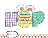 Easter applique embroidery design. HOP applique embroidery design. Cute easter bunny applique embroidery