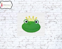 Frog prince applique embroidery design. Fun fairytale applique, perfect for the little prince in your life.