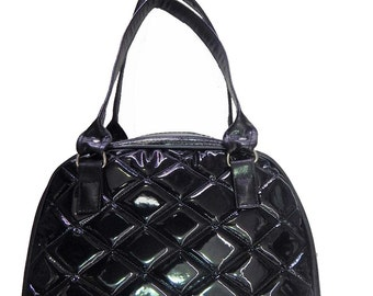 "Bowler Bag Shoulder Bag With ""Shiny BLACK Diamond"" & ""Black Shiny  Fabric "" 50's Pattern Shoulder Bag , Black Color, New"