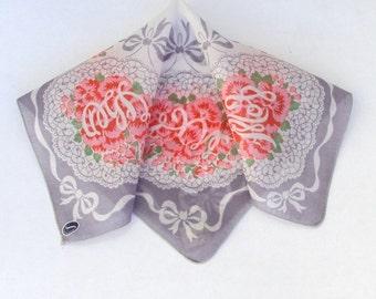 Handkerchief Pink Gray Large Vintage NWT Franshaw
