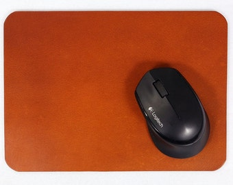 Personalised 3.5 ~ 4mm Thick vegetable tanned leather mouse pad mat /  Brown Black Leather mousepad mouse mat /  Monogram Mousepads MP0XS