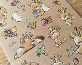 "Cute sheet of Sticker- ""Bear's Cocoa"" for scrapbooking, gift message, Bookmark, Packaging, Party favor"