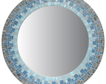 Round Mosaic Mirror - Smoky Gray, Sky Blue, Light Blue