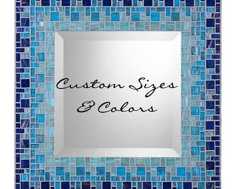 Bathroom Mosaic Mirror - Made to Order - Custom Sizing and Colors
