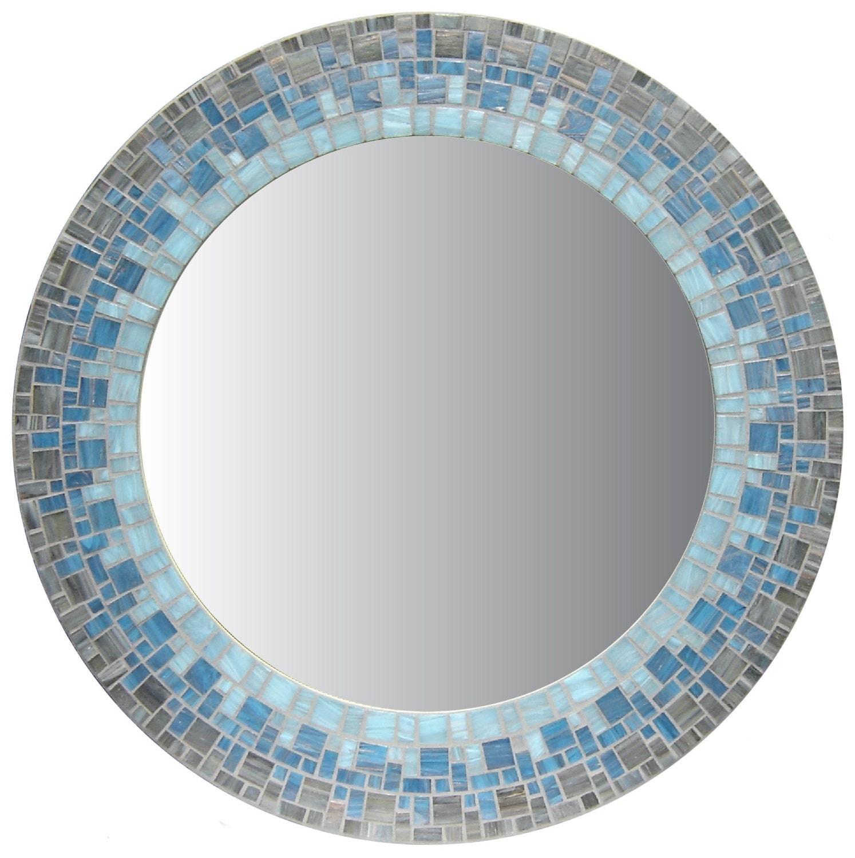 Round mosaic mirror smoky gray sky blue light blue for Mosaic mirror