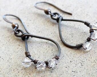 Antiqued Copper Earrings Wire-wrapped Handmade Teardrop Swarovski Crystal Dangle Earrings By Distinctly Daisy