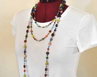 "Beaded NECKLACE - Long 21"" (42"") Multiple Primary Colors Peach Red Aqua Teal Amber Seed Bead Glass Bead - Goes with Everything Necklace 58"