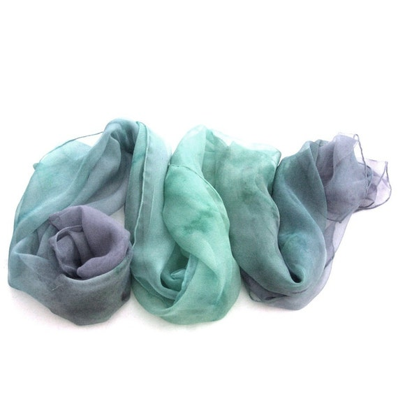 Silk scarf, Peacock dyed scarf, Dyed ombre scarf, Ombre silk scarf, Ombre soft scarf, Fashion ombre scarf, Soft colour, fashion colour,