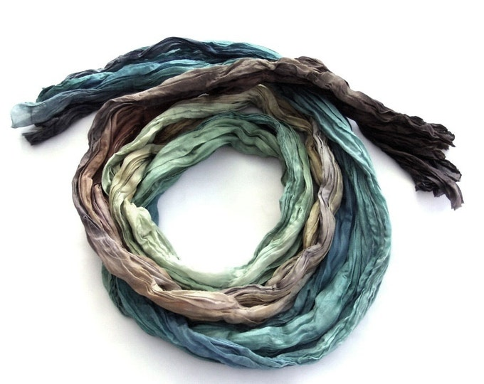 Featured listing image: Colorful dyed fashion ombre crinkle long silk scarf coast Blue Brown gift for him Bohemian clothing
