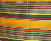 Ethnic Mexican Colorful Bright Yellow Striped Fabric Yard Cambaya