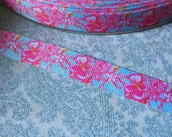 "5/8"" Ribbon Hibiscus Light Blue Pink Flower Grosgrain Ribbon Floral Paisley Print"