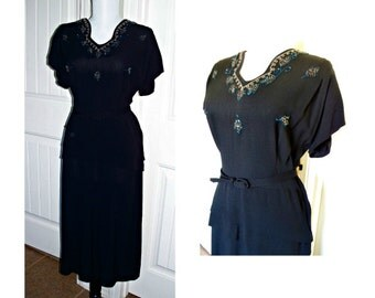 Vintage 1940s black cocktail beaded  dress  layered front skirt belt, MINT condition bust 38 size 12