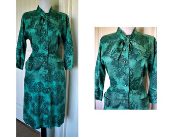 Vintage 1950s Eve Carver vintage dress free shipping in the u.s.a. size 10 or 12 size large