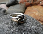 James Avery Sterling Silver and 14K Gold ORIGINAL Lover's Knot Ring Size 6.5