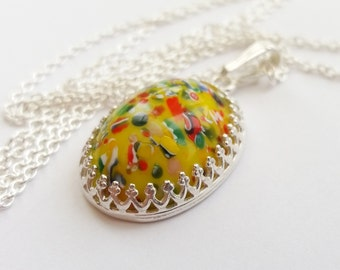 Sterling Silver Vintage Yellow Harlequin Necklace, Speckled Carnival Millefiori Necklace, Vintage Czech Glass Cabochon