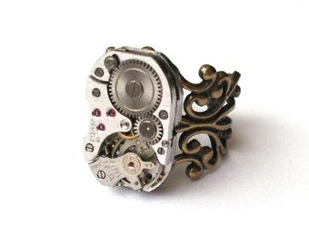 Steampunk Watch Movement Ring, Rectangular Swiss Watch Ring, Steampunk Ring, Bronze and Steel