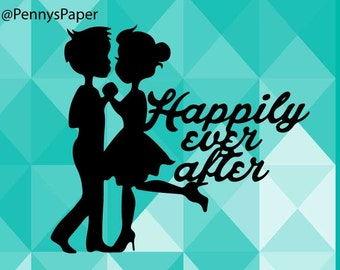 Happily Ever After Dancing Couple, Wedding, Dance DIY Paper Cut File for silhouette or circut - SVG file - Srapbooking and Paper Art DYI
